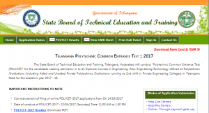 Telangana Polycet Final Phase 2017 Counselling Dates