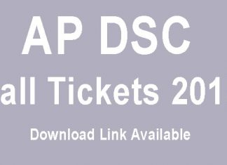 AP DSC Hall Tickets 2018