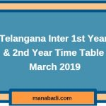 Telangana Inter time table 2019