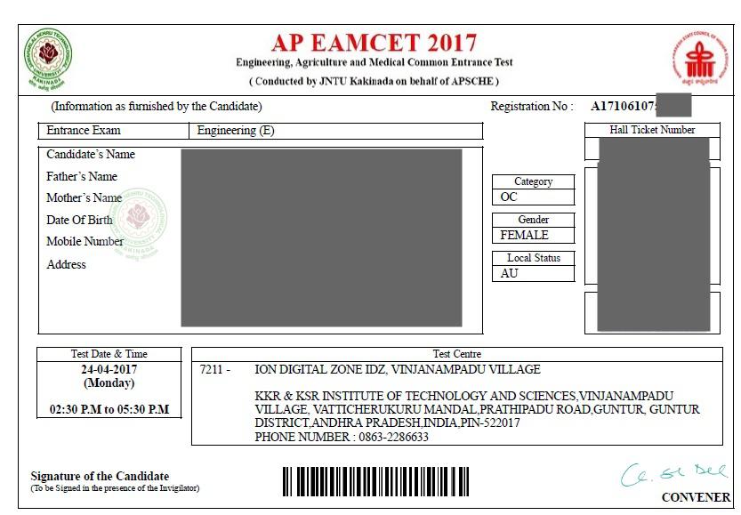 AP EAMCET Hall Ticket 2020